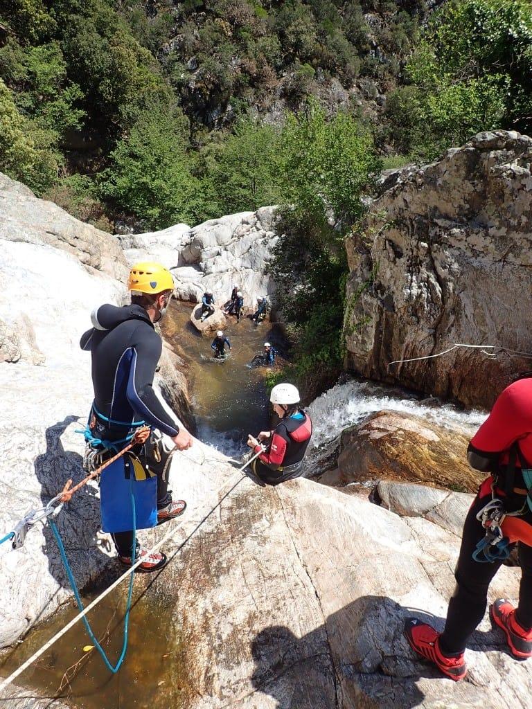 Descente encordée dans le canyon du Rec Grand