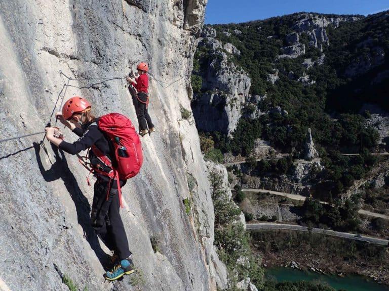Passage verticale du parcours aventure du Rocher de Sion